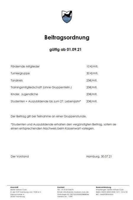 Beitragsordnung Stand 01.09.21
