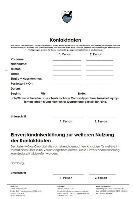 Formular Kontaktdaten